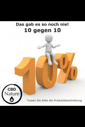 10 gegen 10. Für 10,-€ ein Jahr lang 10% Rabatt.