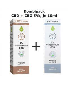 Kombipack CBD und CBG Öl, 5%,  je 10 ml
